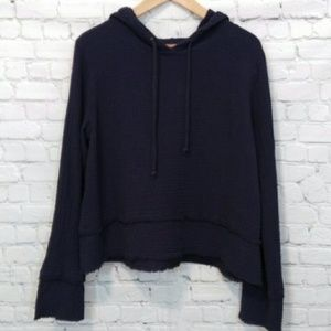 Anthropologie Cotton Hoodie Top Blue Small